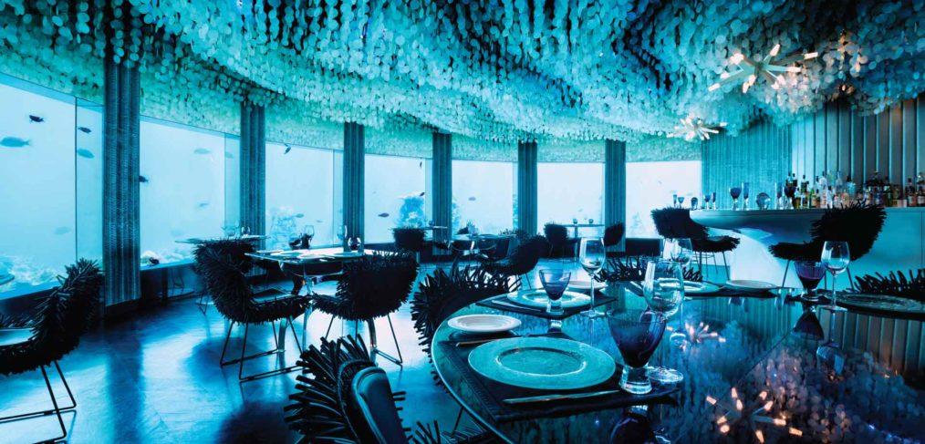 restaurante bajo el agua en Maldivas